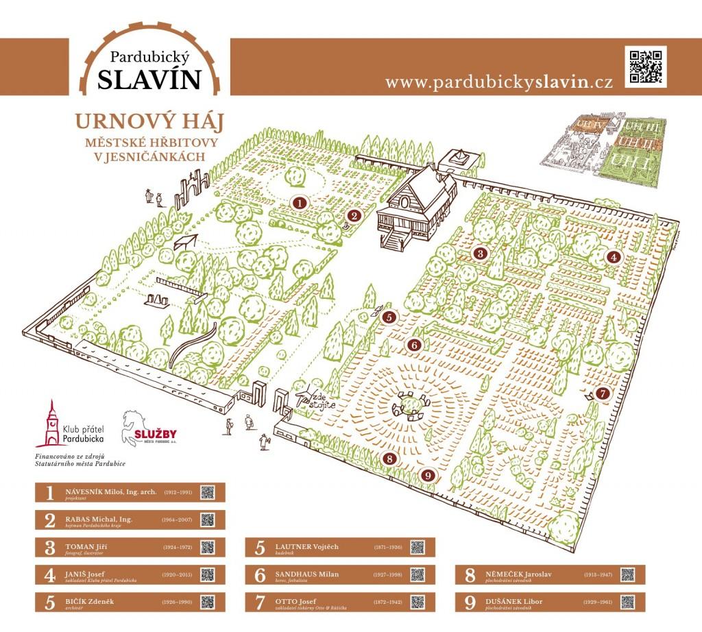 Cedule Slavín - Urnový háj